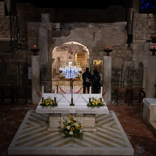 The interior of the Basilica of the Annunciation today