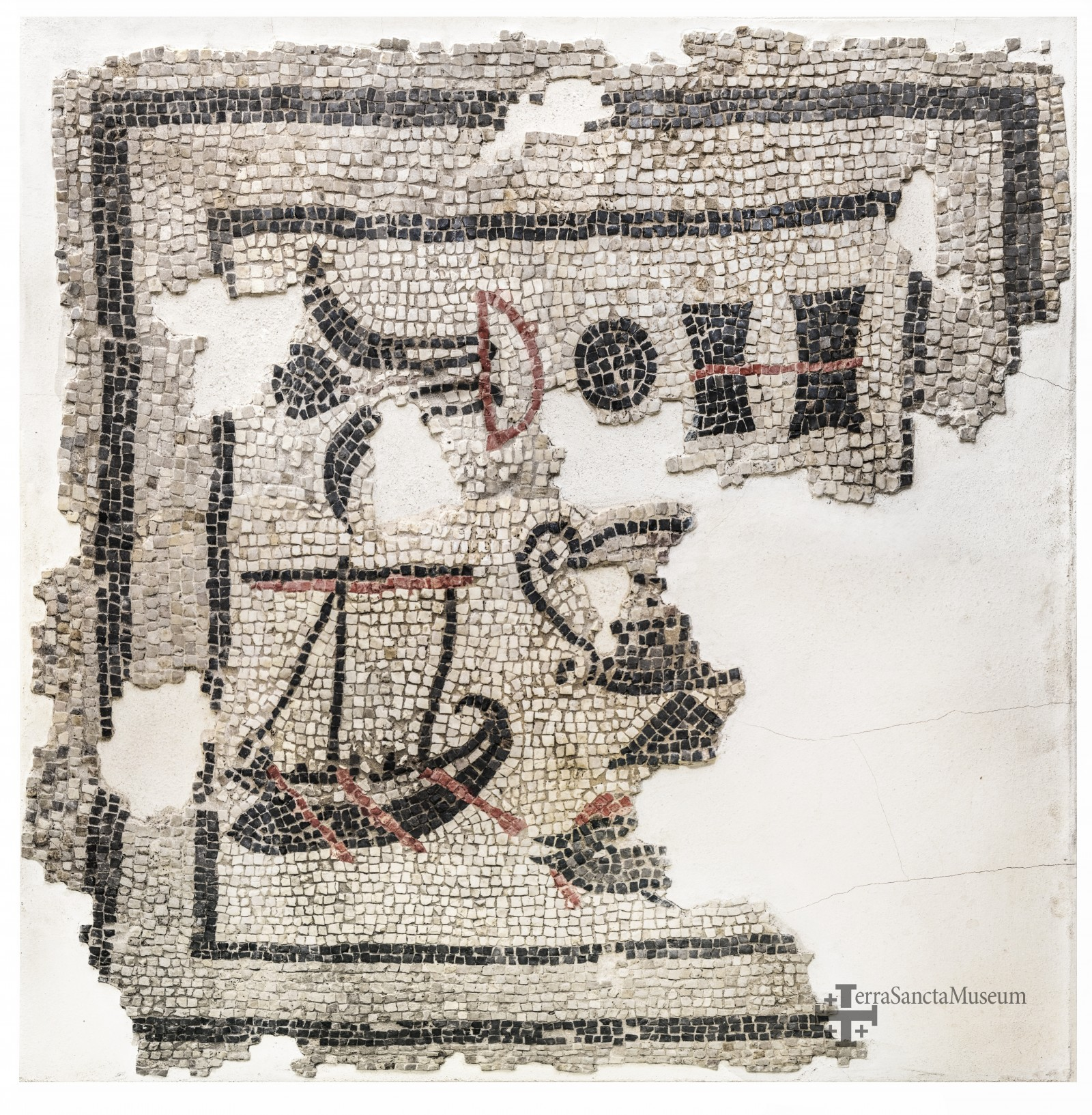 Mosaico con Barca, Magdala, siglo I