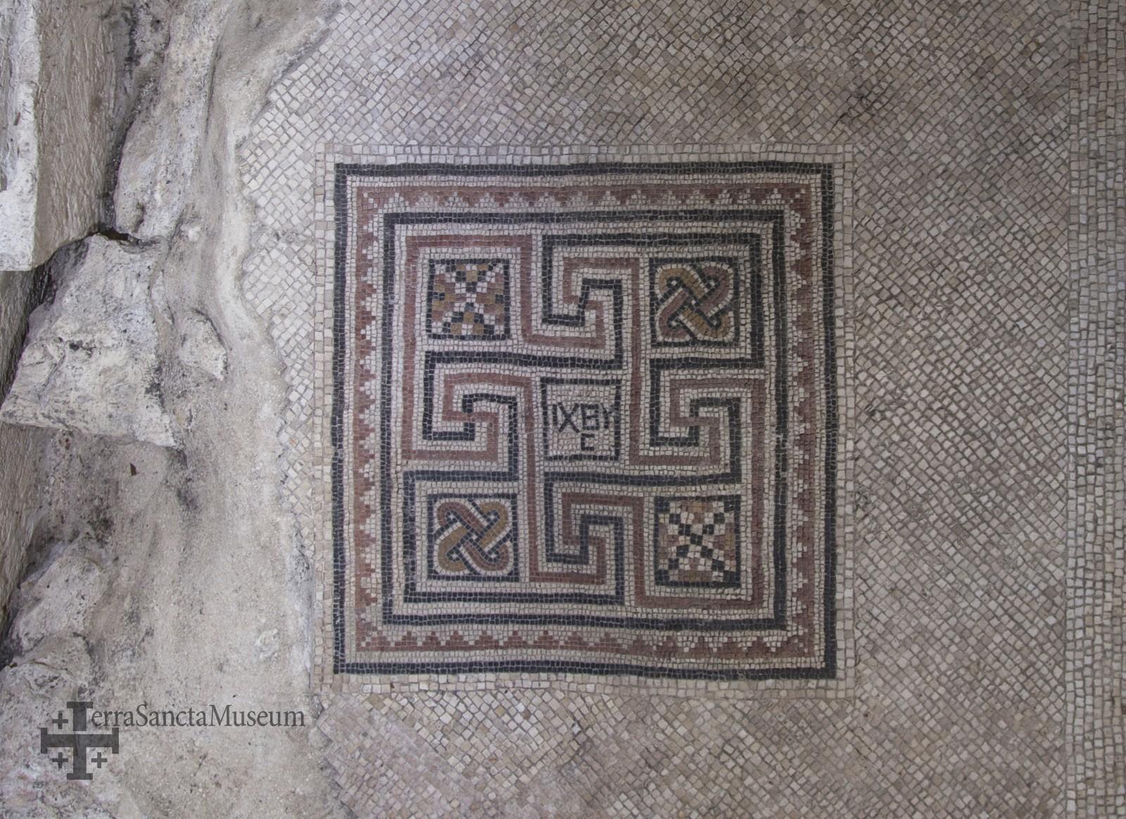 Mosaicos constantinianos en la Basílica de la Natividad de Belén del siglo IV